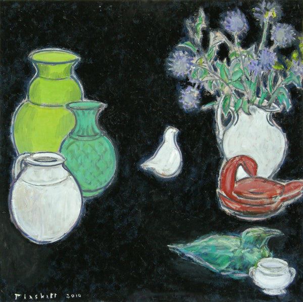Joseph Plaskett - Still Life on Black, Oil on Canvas, Floating in Brushed Silver Frame,  - Bau-Xi Gallery
