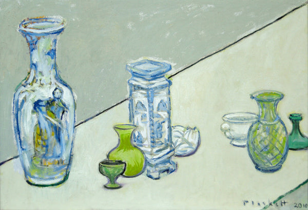 Joseph Plaskett - Still Life on Pale Yellow, Oil on Canvas, Floating in Brushed Silver Frame,  - Bau-Xi Gallery