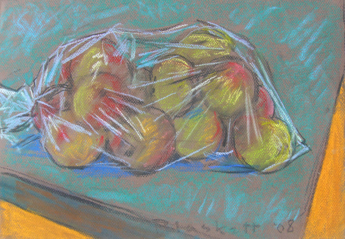 Joseph Plaskett - Apples in Plastic 4, Pastel on Paper, Framed in Brushed Silver with Glass,  - Bau-Xi Gallery