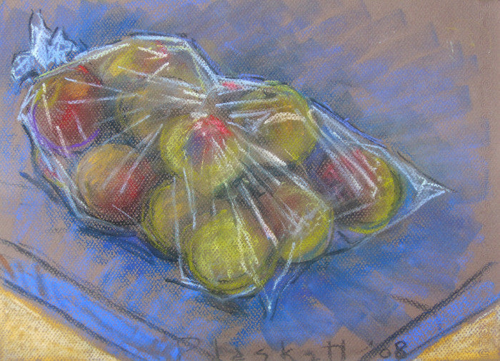 Joseph Plaskett - Apples in Plastic 1, Pastel on Paper, Framed in Brushed Silver with Glass,  - Bau-Xi Gallery