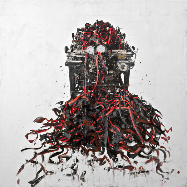 Andre Petterson - Vent Red, Mixed Media on Panel, Unframed,  - Bau-Xi Gallery