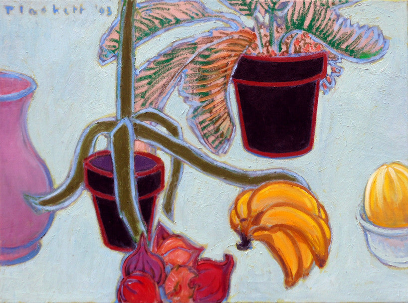 Joseph Plaskett - Pots, Fruit & Vegetable, Oil on Canvas, Floating in White Frame,  - Bau-Xi Gallery