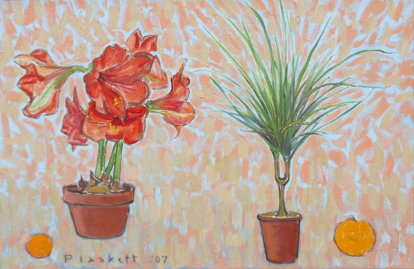 Joseph Plaskett - Amaryllis, Palm, Clementine & Orange, Oil on Canvas, Floating in White Frame,  - Bau-Xi Gallery