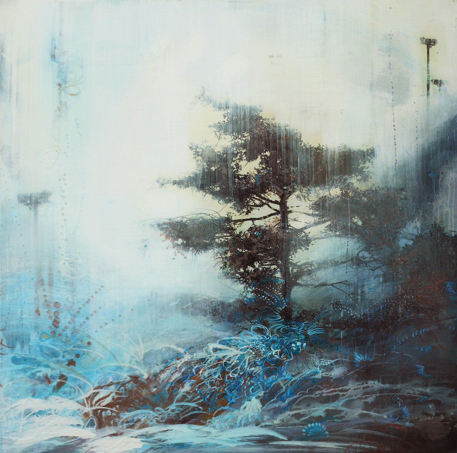 Tracey Tarling - The Coolness of the Morning Forest Unfolds Watery Light, Mixed Media on Panel, Unframed,  - Bau-Xi Gallery