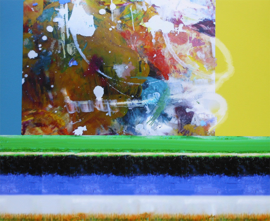 Sylvia Tait - Palette-Scape, Mixed Media, Framed in White with Glass,  - Bau-Xi Gallery