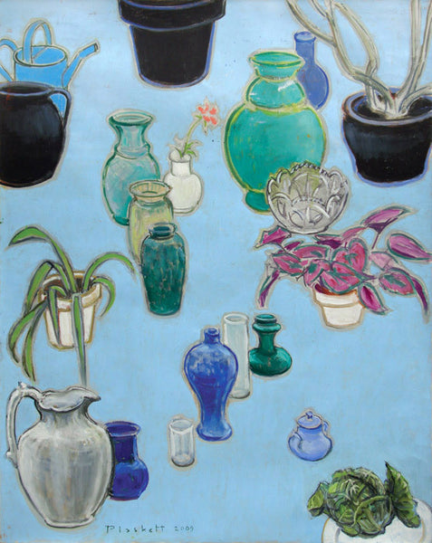 Joseph Plaskett - Still Life with Black Pots (on blue), Oil on Canvas, Floating in Brushed Silver Frame,  - Bau-Xi Gallery