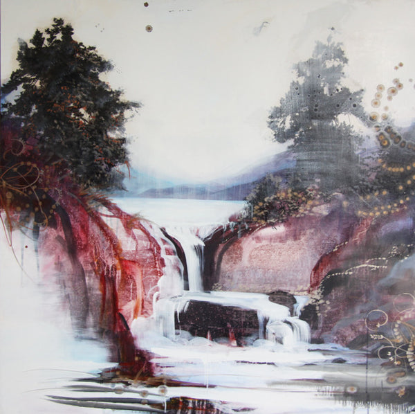 Tracey Tarling - The Rivers Light White Soothed by the Song of Falling Water, mixed media on panel, Unframed,  - Bau-Xi Gallery