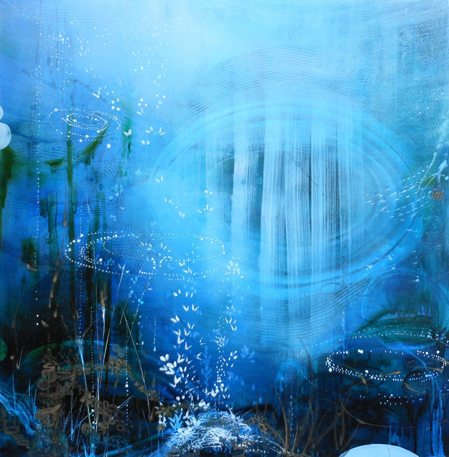 Tracey Tarling - Blue Oculus II, Mixed Media on Panel, Unframed,  - Bau-Xi Gallery