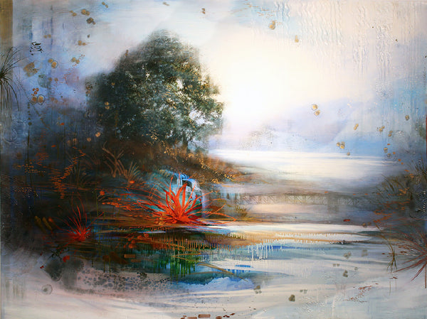 Tracey Tarling - Bliss, Red in the Arms of the Lotus, Mixed Media on Panel, Unframed,  - Bau-Xi Gallery