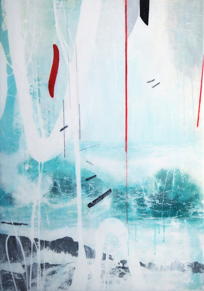 Steven Nederveen - Beach Closed, Mixed Media on Panel with Resin, Unframed,  - Bau-Xi Gallery