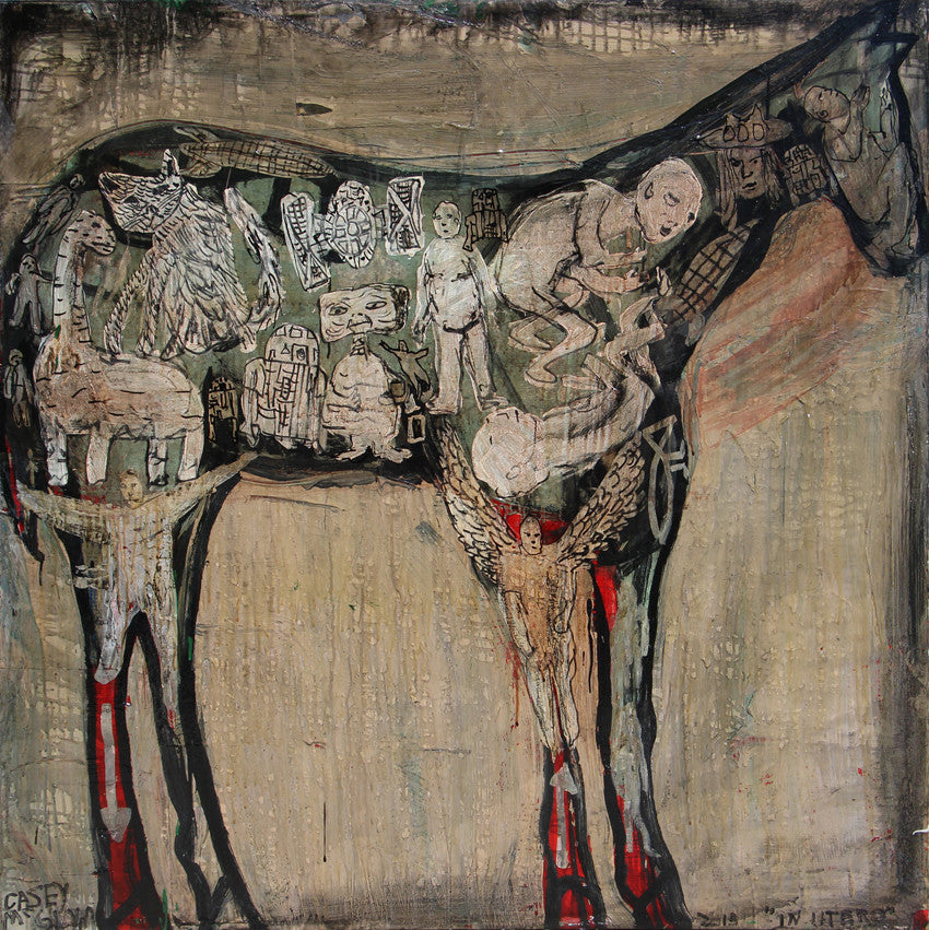 Casey McGlynn - In Utero Horse, Mixed Media on Canvas, Unframed,  - Bau-Xi Gallery