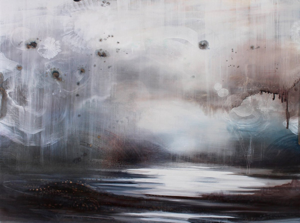Tracey Tarling Artwork | Dark, moody, dramatic, monochromatic paintings of landscape, water, and weather.