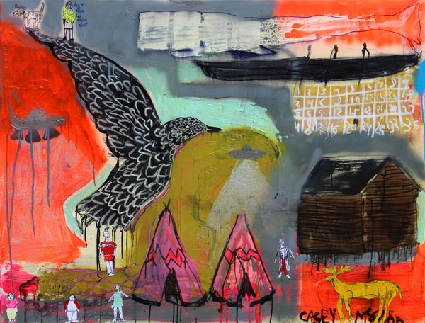 Casey McGlynn - Human Animal Earth, Mixed Media on Canvas, Unframed,  - Bau-Xi Gallery