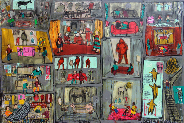 Casey McGlynn - Patrons, Mixed Media on Canvas, Unframed,  - Bau-Xi Gallery