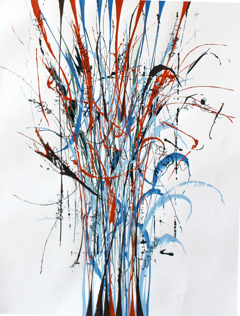 Pat O'Hara - Linearity (blue and orange), Acrylic on Archival Paper, Framed in White with Glass,  - Bau-Xi Gallery