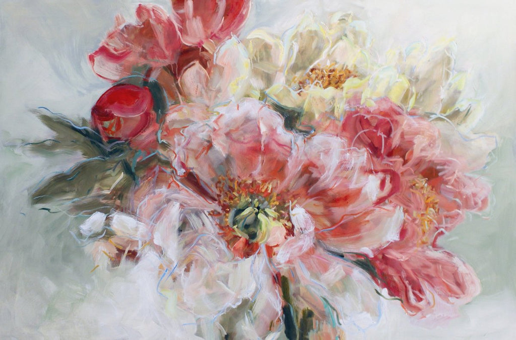 Jamie Evrard - Pale Pink Morning Light, Oil on Panel, Unframed,  - Bau-Xi Gallery