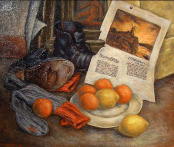 Frederick Hagan - On the Floor, Still Life - 1945, Oil on Masonite, Framed in Original Wood Grey Studio Frame,  - Bau-Xi Gallery