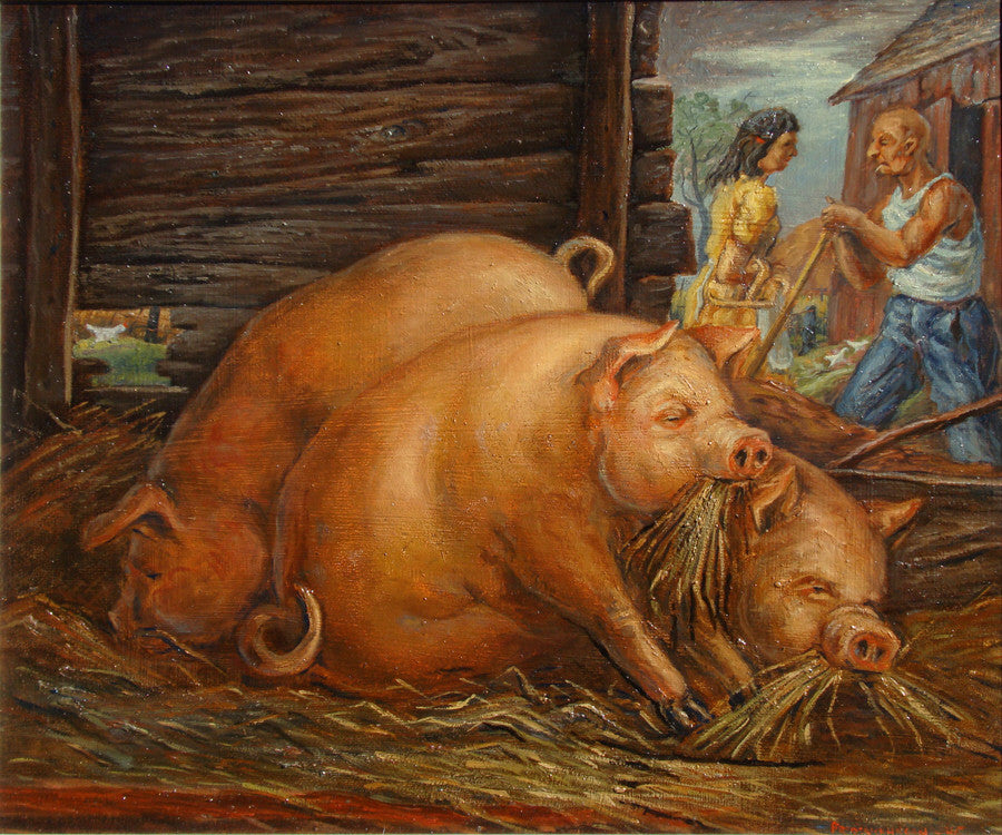 Frederick Hagan - Pigs and Chicken - 1946, Oil on Masonite, Framed in Original Wood Grey Studio Frame,  - Bau-Xi Gallery