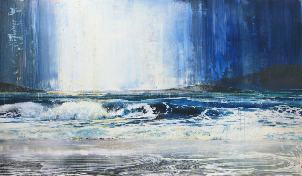 Steven Nederveen Artwork | Dramatic, monochromatic, landscape and seascape artworks of waves, waterfalls, forests and mountains by layering paint over a photographic base.