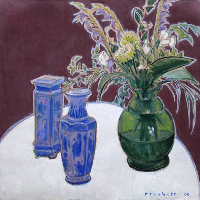 Joseph Plaskett - Bouquet & Chinese Vases, Oil on Canvas, Floating in Brushed Silver Frame,  - Bau-Xi Gallery