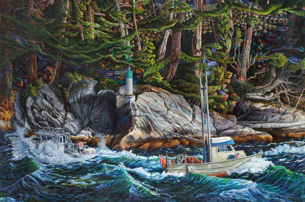 Drew Burnham - Alberni Inlet, Oil and Acrylic on Canvas, Unframed,  - Bau-Xi Gallery