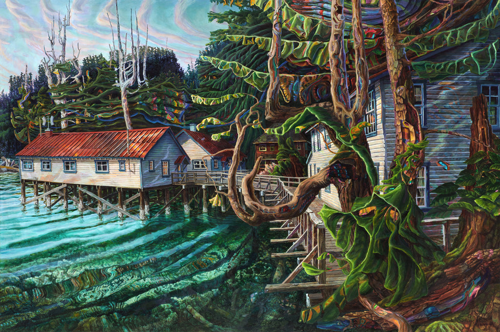 Drew Burnham - Goose Bay Cannery, Bella Coola, Oil and Acrylic on Canvas, Unframed,  - Bau-Xi Gallery