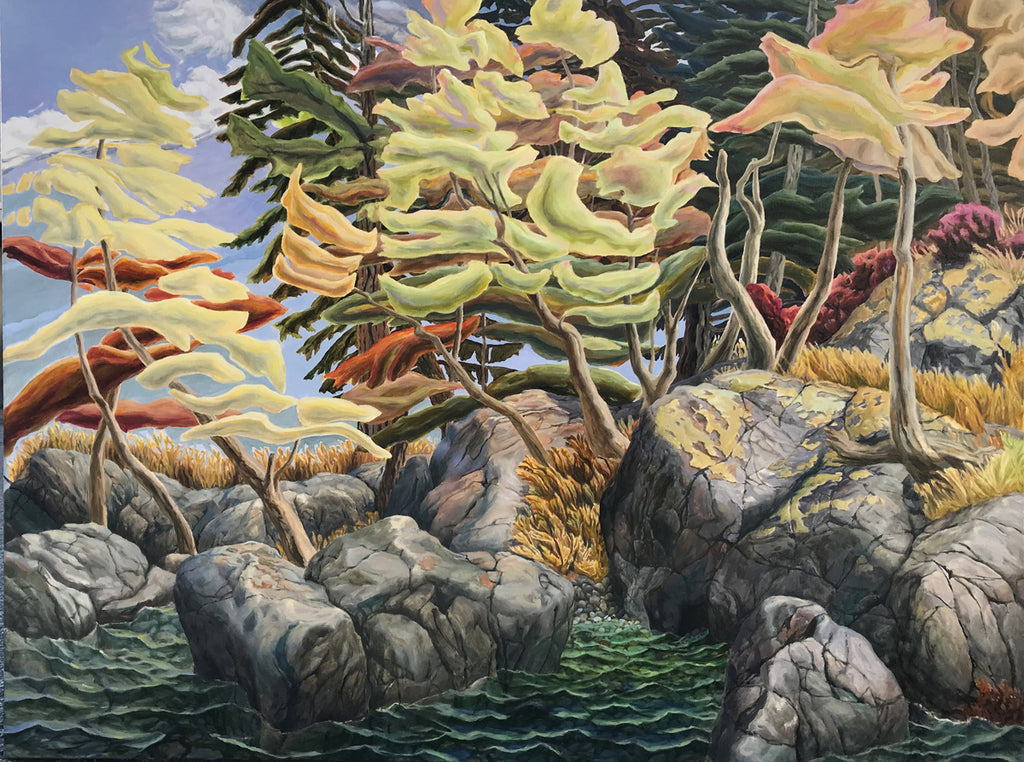 Drew Burnham - South to Pirate's Cove, Oil on Canvas, Unframed,  - Bau-Xi Gallery
