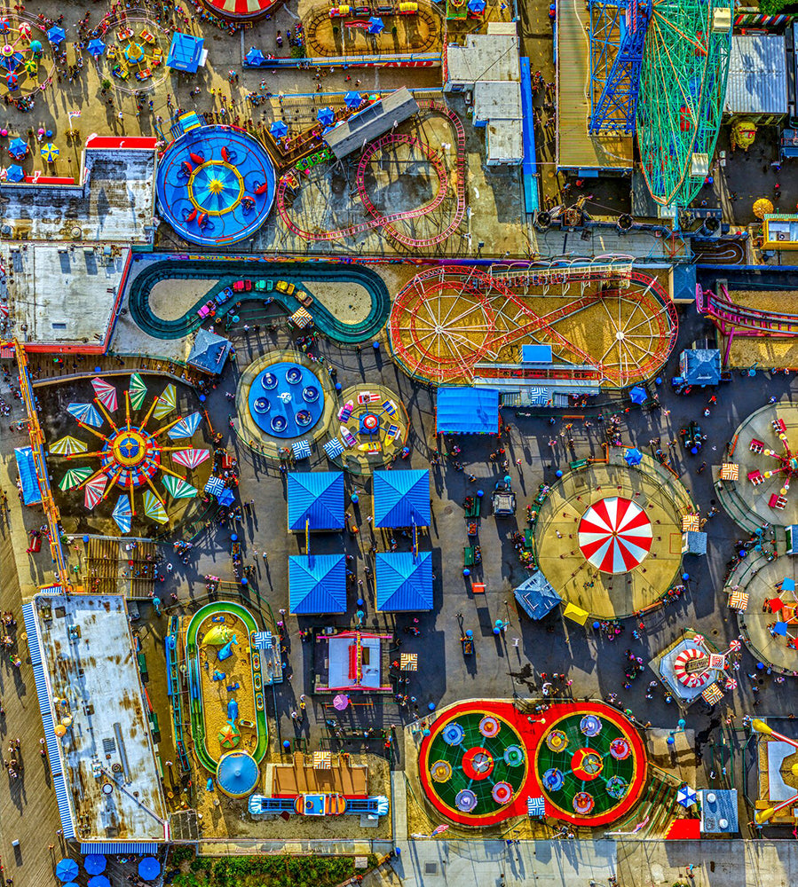 Jeffrey Milstein - Coney Island 2, Archival Inkjet Print Mounted on Archival Substrate, Framed in White with Plexiglass,  - Bau-Xi Gallery
