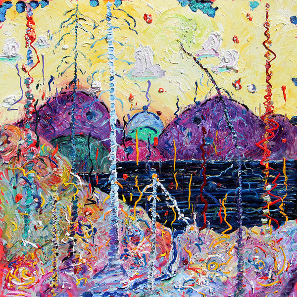 Colourful abstract sculptural landscape painting by Toronto-based Canadian painter, Alex Cameron.