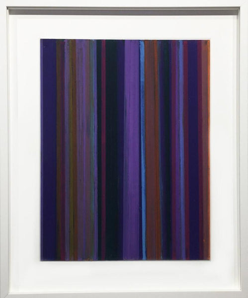 Vicky Christou - Violet Shade, oil pastel on paper, framed in white,  - Bau-Xi Gallery