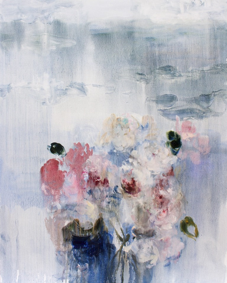 Darlene Cole - Lake (love notes, roses + peonies), Oil on Canvas, Unframed,  - Bau-Xi Gallery