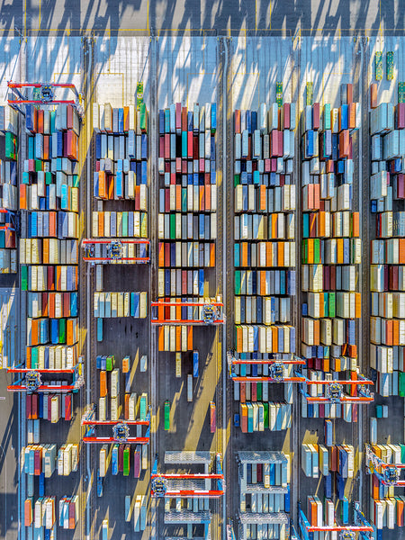 Jeffrey Milstein - Container Port 45 Long Beach - Available in 6 sizes, Archival Inkjet Print Mounted on Archival Substrate, Framed in White with Plexiglass,  - Bau-Xi Gallery