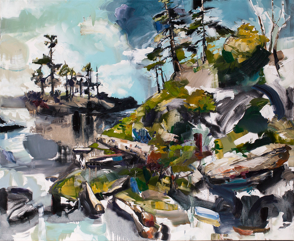 Cori Creed Artwork | Colorful, vibrant, expressive abstract West Coast landscape and seascape oil painting of trees, mountains, and water.