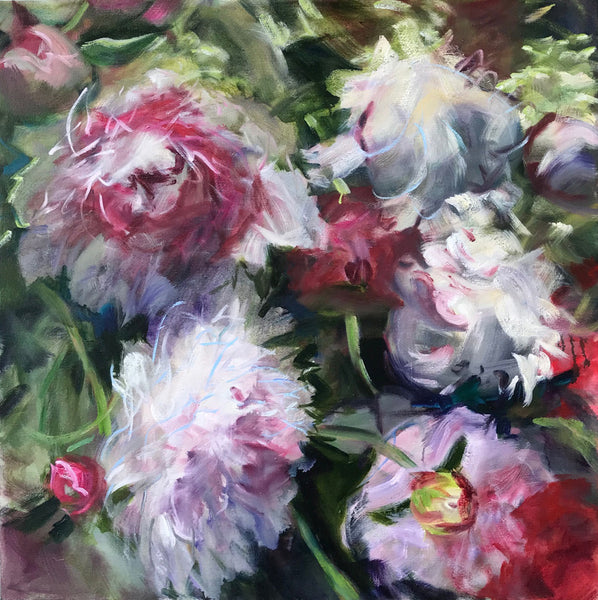 Jamie Evrard - Peonies Baroque, Oil on Canvas, Unframed,  - Bau-Xi Gallery