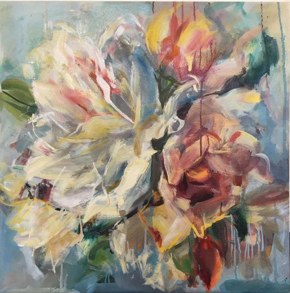 Jamie Evrard - Rose Study Cerulean, Oil on Canvas, Unframed,  - Bau-Xi Gallery