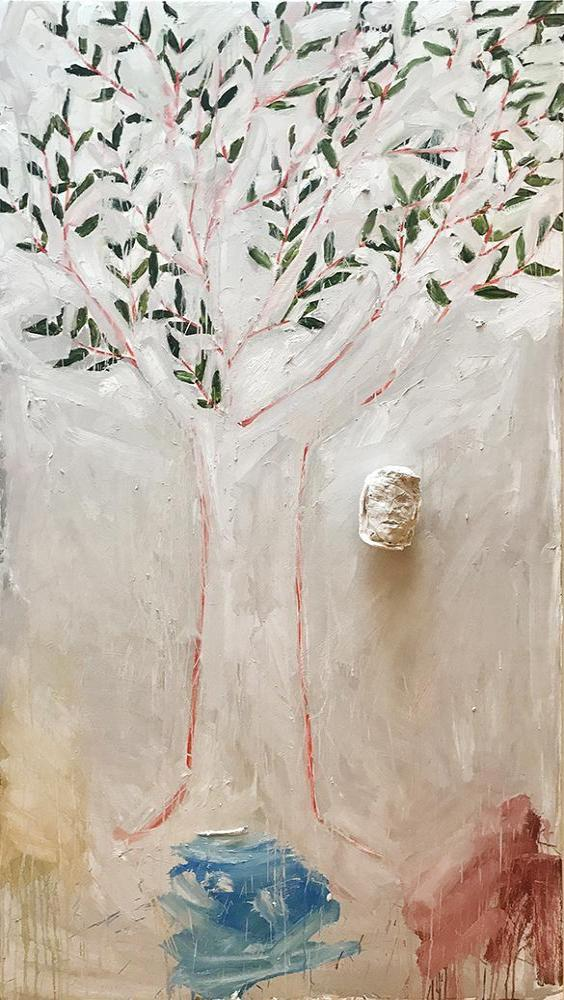 Ted Fullerton - Tree (3 Graces), Oil on Wood Panel with Plaster, Unframed,  - Bau-Xi Gallery