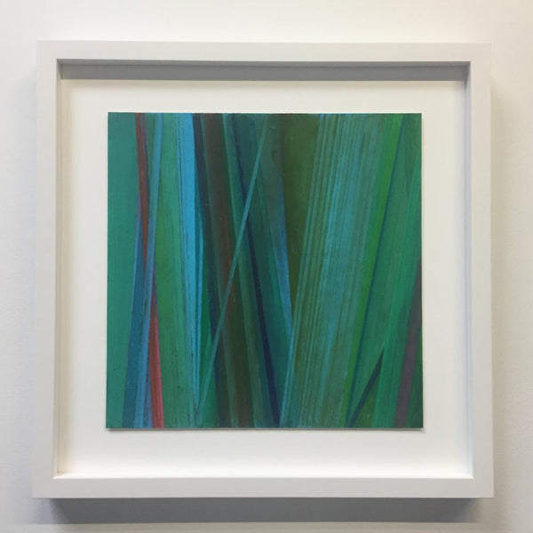 Vicky Christou - Green Rays, Oil Pastel on Paper, Framed in White with Museum Glass,  - Bau-Xi Gallery