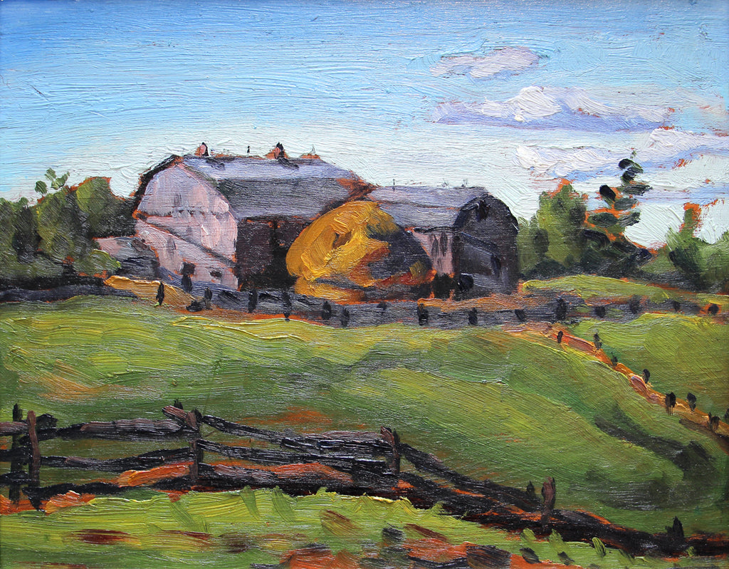 Frederick Hagan - Mr. King's Barns, Pickering Farm, oil on panel, Framed,  - Bau-Xi Gallery