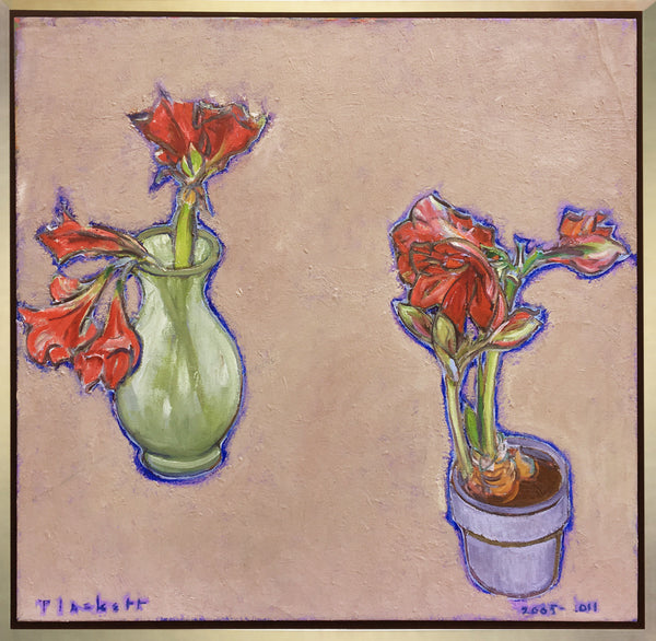 Joseph Plaskett - Two Amaryllis, Oil on Canvas, Framed in Brushed Silver,  - Bau-Xi Gallery