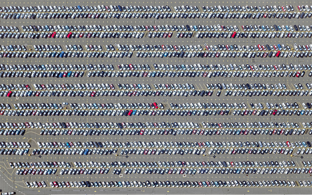Jeffrey Milstein - Newark Port Car Lot - Available in 5 sizes, Archival Inkjet Print Mounted on Archival Substrate, Framed in White with Plexiglass,  - Bau-Xi Gallery