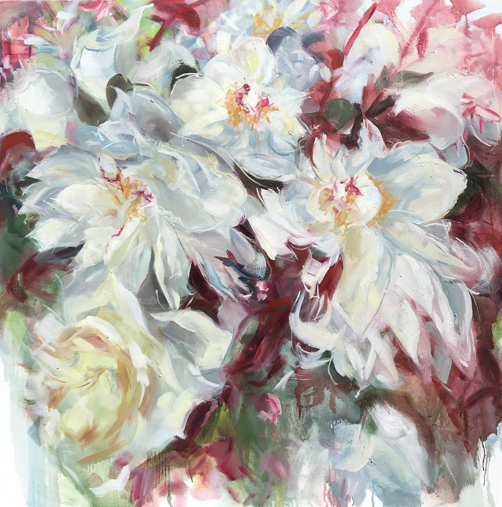 Jamie Evrard - Peonies Noted Briefly, Oil on Canvas, Unframed,  - Bau-Xi Gallery