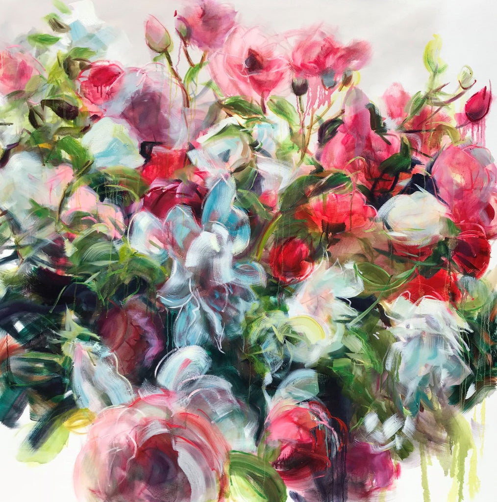 Jamie Evrard - Red Garden, Oil on Canvas, Unframed,  - Bau-Xi Gallery