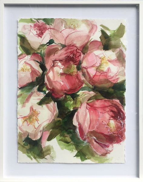Jamie Evrard - Rosé, Watercolour on Paper, framed in white,  - Bau-Xi Gallery