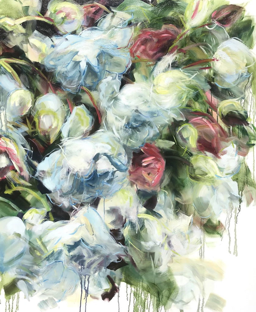 Jamie Evrard - White Roses Falling, Oil on Canvas, Unframed,  - Bau-Xi Gallery