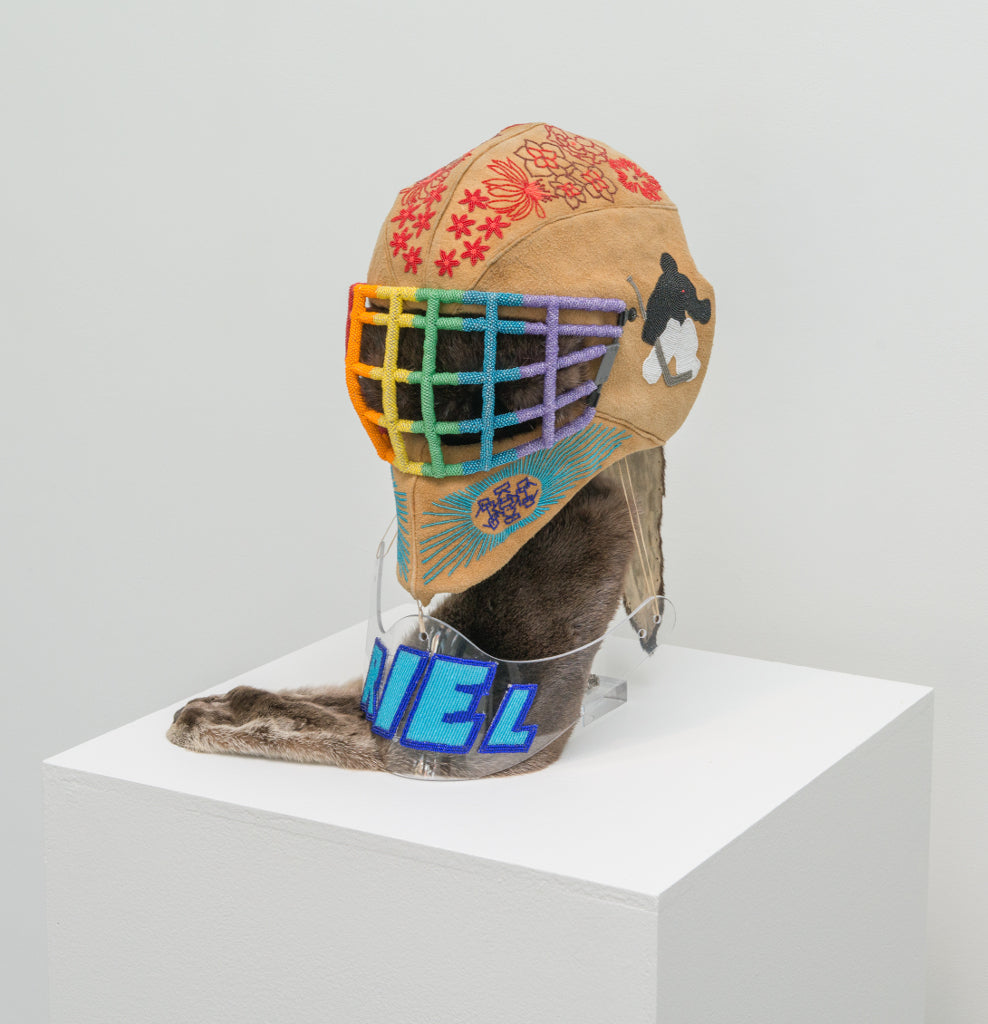 SSNAP 2017 Winners - Judy Anderson - This one brings me the most pride..., Mixed Media Sculpture with beads, moose hide, otter skin, goalie helmet,  - Bau-Xi Gallery