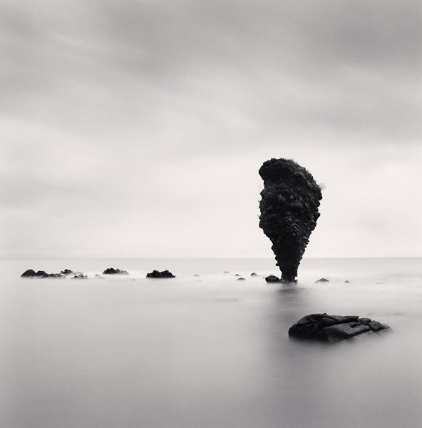 Michael Kenna - Rock Formations, Study 2, Yoichi, Hokkaido, Sepia toned silver gelatin print, framed in grey with museum glass,  - Bau-Xi Gallery