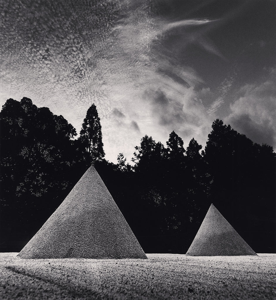 Michael Kenna - Sand Mounds, Kamigamojinja, Kyoto, Sepia toned silver gelatin print, framed in grey with museum glass,  - Bau-Xi Gallery