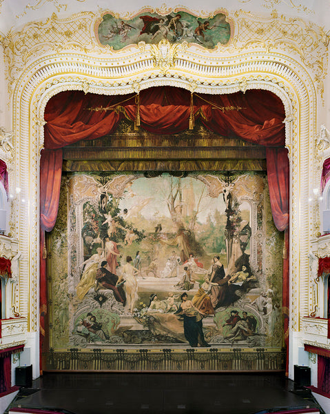 David Leventi - Gustav Klimt Painted Curtain, Municipal Theatre, Karlovy Vary, Czech Republic, 2019 - 3 sizes, $11,450-$33,950, Fujicolor Crystal Archive Print Mounted on Archival Substrate, Framed in White with Plexiglass,  - Bau-Xi Gallery