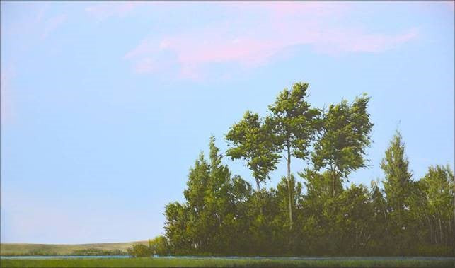 Robert Marchessault - Little Bosque, Oil & Acrylic on Panel, Framed in White,  - Bau-Xi Gallery