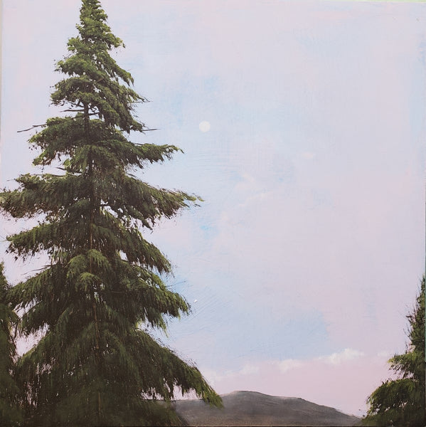 Robert Marchessault - Dawn Eastern Townships, Oil on Panel, Framed in White,  - Bau-Xi Gallery